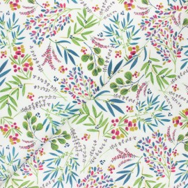 Cretonne cotton fabric - white Poésie florale x 10cm