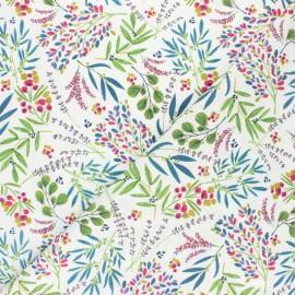Tissu coton cretonne Poésie florale - blanc x 10cm