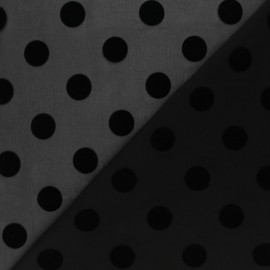 Velvet flocked Muslin fabric - black Polka dot x 50cm