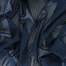 Velvet flocked Muslin fabric - Black/Navy blue Dotty x 50cm