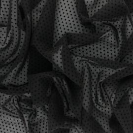 Velvet flocked Muslin fabric - Black Dotty x 50cm