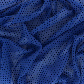 Velvet flocked Muslin fabric - Black/ Blue Dotty x 50cm