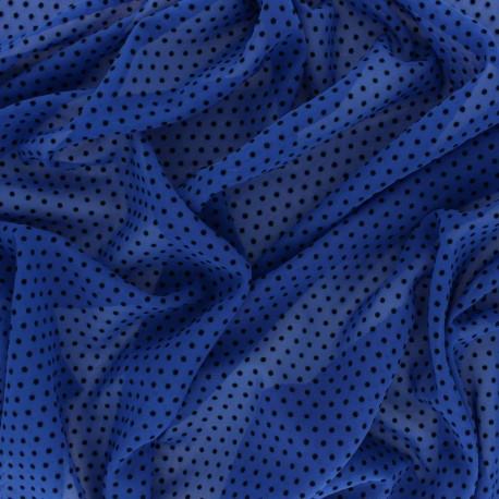 Tissu Mousseline floqué velours Dotty - Bleu/Noir x 50cm