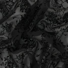 Tissu Mousseline velours floqué Rosae - noir x 50cm