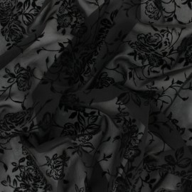 Velvet flocked Muslin fabric - black Rosae x 50cm