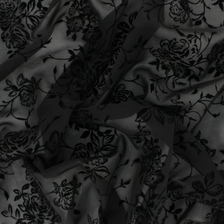Velvet flocked Muslin fabric - black Rosae x 50cm