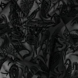 Velvet flocked Muslin fabric - black Gypsy x 50cm