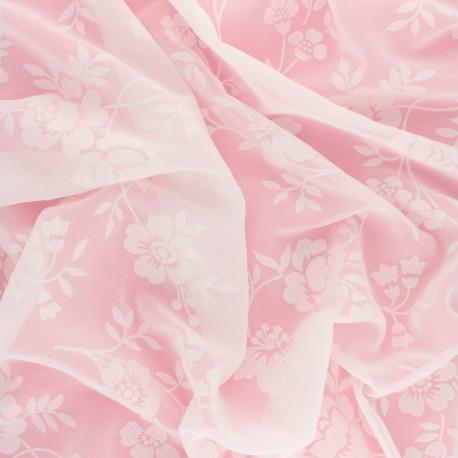 Tissu Mousseline floqué velours Florae - ivoire x 50cm
