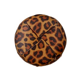 Recycled Leather Button - Damier Leopard
