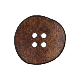 Wooden Aspect Recycled Leather Button - Brown