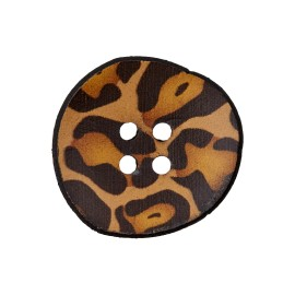 Wooden Aspect Recycled Leather Button - Panther