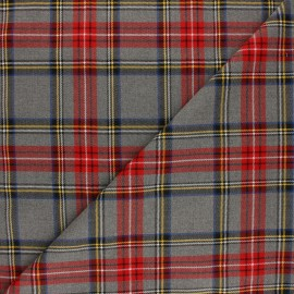 Tissu tartan écossais Gris clair / Rouge x10cm