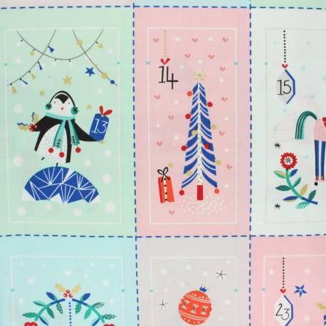 Tissu coton Dashwood Calendrier de l'avent - Merry and bright x 74cm