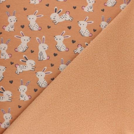 Tissu sweat envers minkee Lapinou - orange x 10cm