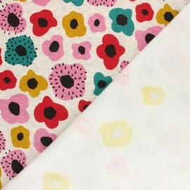 Tissu sweat envers minkee Poppy mekko - écru chiné/rose x 10cm