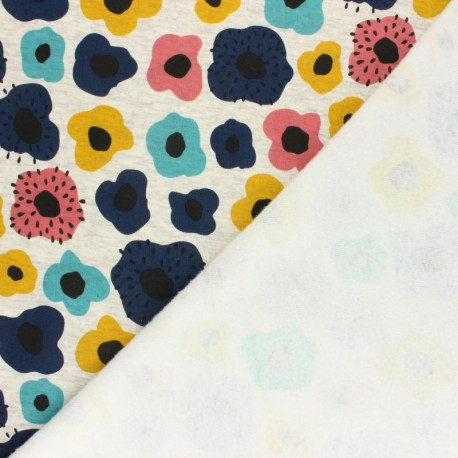 Sweatshirt fabric with minkee - Mottled raw/blue Poppy mekko x 10cm
