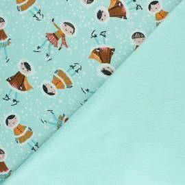Tissu sweat envers minkee Lapinou - Beigebe x 10cm