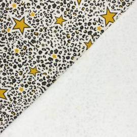 Sweatshirt fabric with minkee - Mottled raw/mustard Leopard stars x 10cm