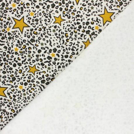 Tissu sweat envers minkee Leopard stars - écru chiné/moutarde x 10cm
