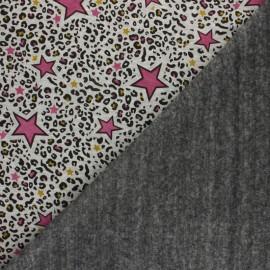 Tissu sweat envers minkee Leopard stars - écru chiné/bleu x 10cm