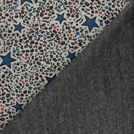 Tissu sweat envers minkee Leopard stars - gris chiné/bleu marine x 10cm