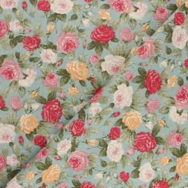 Tissu coton cretonne Bouquet printanier - bleu x 10cm