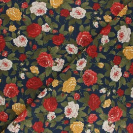 Tissu coton cretonne Kate rose - bleu x 10cm