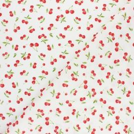 Tissu coton cretonne Heart cherry - blanc x 10cm