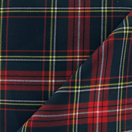 Scottish tartan fabric - carmine/green x10cm