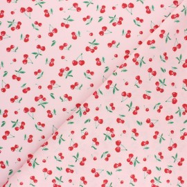 Cretonne cotton fabric - pink Heart cherry x 10cm