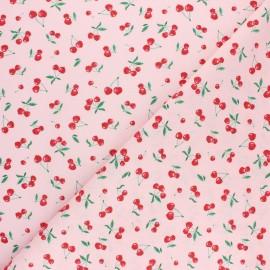 Tissu coton cretonne Heart cherry - rose x 10cm