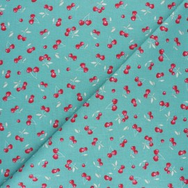 Cretonne cotton fabric - turquoise Heart cherry x 10cm