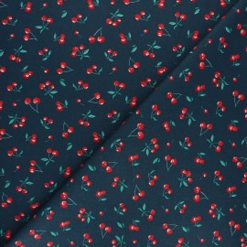 Cretonne cotton fabric - navy blue Heart cherry x 10cm