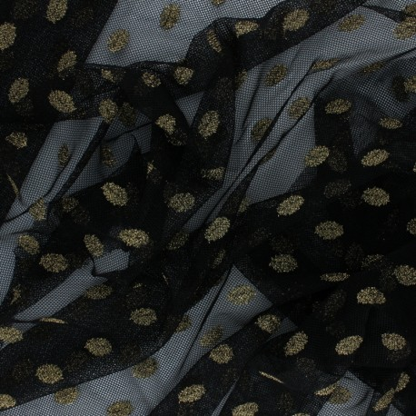 Tissu tulle souple gold polka dot - noir x 10cm