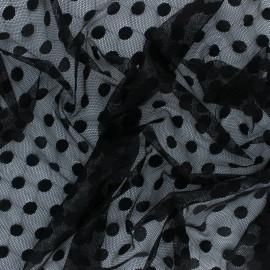 Tissu tulle souple polka dot - écru x 10cm
