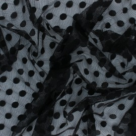 Tulle fabric - black polka dot x 10 cm