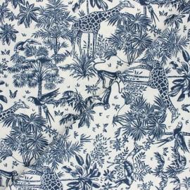 Tissu coton cretonne Toile de safari - bleu x 10cm