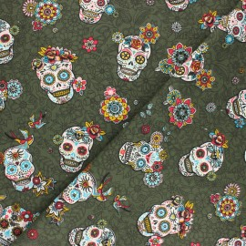 Tissu coton sergé Cristobal - kaki x 10cm