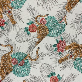 Tissu Jacquard Tigre - blanc x 10cm