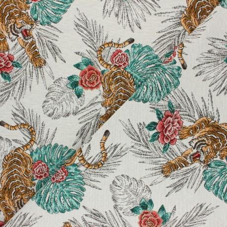 Jacquard fabric - white Tigre x 10cm