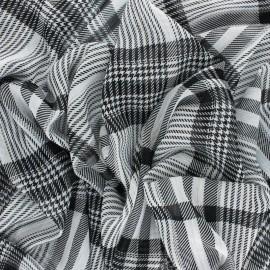 ♥ Coupon 150 cm X 140 cm ♥ Tissu Mousseline lurex Prince de Galles - Noir/blanc