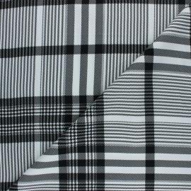 Tissu twill viscose Prince de Galles - noir/blanc x 10 cm