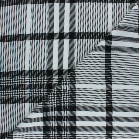 Twill viscose fabric - black/white Prince de Galles x 10 cm