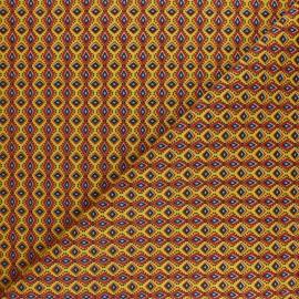 Tissu coton cretonne Wax - Jaune x 10cm