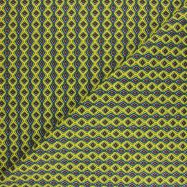 Tissu coton cretonne Wax - Jaune citron x 10cm