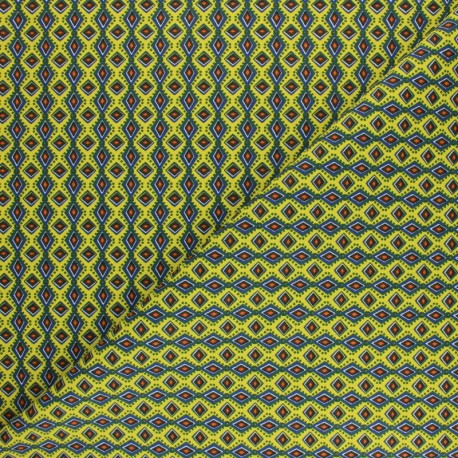 Cretonne cotton fabric - lemon yellow wax x 10cm