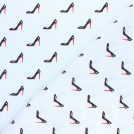 Poplin Cotton fabric - white Stiletto x 10cm