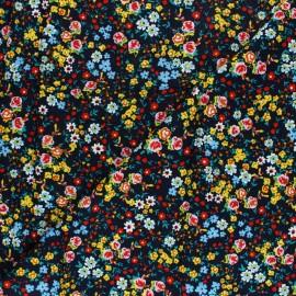 Tissu rayonne Le pré fleuri - marine x 10cm