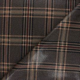 Coated Elastane Polyester Fabric - Brown Prince of Wales x 10cm