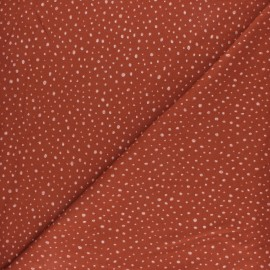 Poppy Jersey fabric - Rust Glitter Dots x 10cm